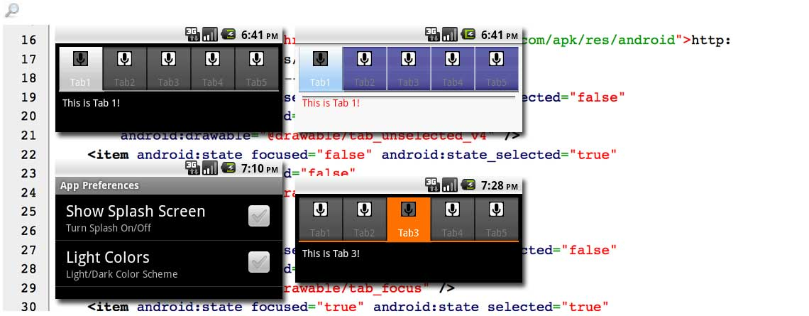 Change Android™ TabWidget Colors