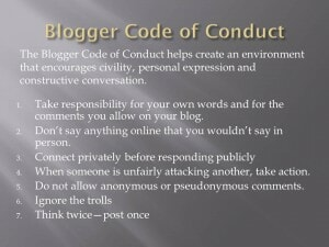 Blogger Code of Conduct